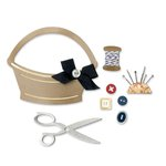 Sizzix - French General Collection - Thinlits Die - Sewing Basket and Supplies