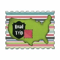 Sizzix - Vintage Travel Collection - Thinlits Die - United States Map, Road Sign, Stamp and Postcard