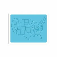 Sizzix - Vintage Travel Collection - Textured Impressions - Embossing Folder - United States Map