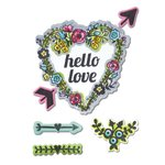 Sizzix - Hello Love Collection - Framelits Die with Clear Acrylic Stamp Set - Hello Love