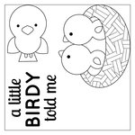 Sizzix - Doodlebug - Framelits Die with Clear Acrylic Stamp Set - A Little Birdy Told Me