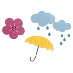 Sizzix - Doodlebug - Thinlits Die - Cloud, Flower, Rain and Umbrella