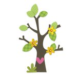 Sizzix - Doodlebug - Bigz Die - Tree with Flower, Heart and Leaves