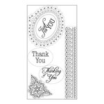 Sizzix - Winter Wishes Collection - Christmas - Interchangeable Clear Acrylic Stamps - Doodle Label with Phrases