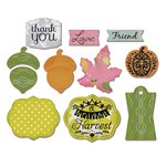 Sizzix - A Bright Harvest Collection - Framelits Die with Clear Acrylic Stamp Set - A Bright Harvest