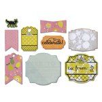 Sizzix - A Bright Harvest Collection - Framelits Die with Clear Acrylic Stamp Set - Fall Sentiments