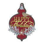 Sizzix - Winter Wishes Collection - Christmas - Thinlits Die - Ornament and Happy Holidays