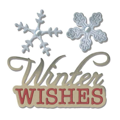 Sizzix - Winter Wishes Collection - Christmas - Thinlits Die - Phrase, Winter Wishes and Snowflakes