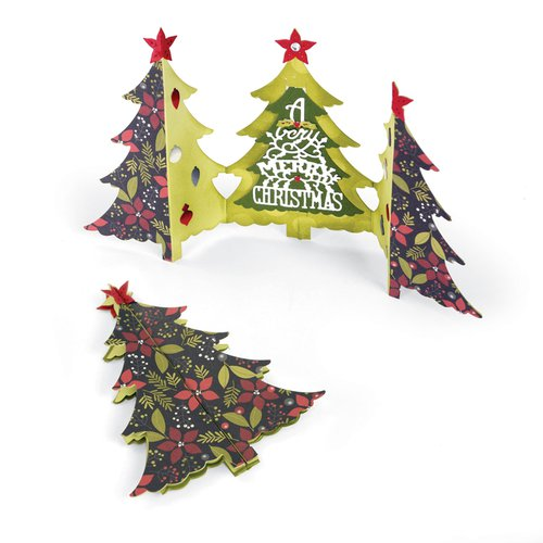 Sizzix - Winter Wishes Collection - Christmas - Thinlits Die - Card, Christmas Tree Fold-a-Long