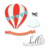Sizzix - Favorite Things Collection - Framelits Die with Clear Acrylic Stamps - Hot Air Balloon