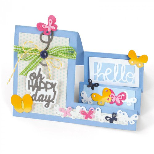 Sizzix - Framelits Die - Card, Oh Happy Day Mini Step-Ups