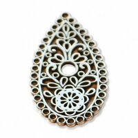 Sizzix - Leather Jewelry Collection - Findings - Tear Drop Paisley - Silver