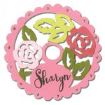 Sizzix - Garden Party Collection - Thinlits Die - Wine Stem Name Label, Rose Lace
