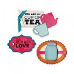 Sizzix - Framelits Die with Clear Acrylic Stamps - Jar and Teapot Sentiments