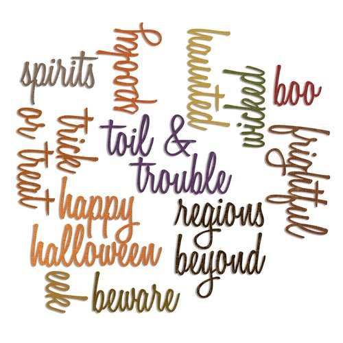Sizzix - Tim Holtz - Alterations Collection - Thinlits Die - Script Halloween Words