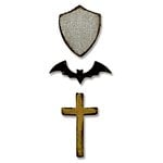 Sizzix - Tim Holtz - Alterations Collection - Halloween - Movers and Shapers Magnetic Die - Tiny Bat, Cross and Shield