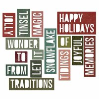 Sizzix - Tim Holtz - Alterations Collection - Christmas - Thinlits Die - Holiday Words 2 - Block