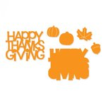 Sizzix - Thinlits Die - Happy Thanksgiving 3D Drop-ins Sentiment