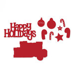 Sizzix - Thinlits Die - Happy Holidays 3D Drop-ins Sentiment