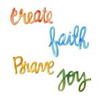 Sizzix - Homegrown and Handmade Collection - Thinlits Die - Circle Words - Faith, Create, Brave and Joy