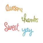 Sizzix - Homegrown and Handmade Collection - Thinlits Die - Circle Words - Yay, Thanks, Sweet and Awesome