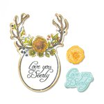 Sizzix - Fox Tales Collection - Framelits Die with Clear Acrylic Stamps - Sweet Deer