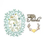 Sizzix - Fox Tales Collection - Thinlits Die - Phrase, With Thanks and Frame