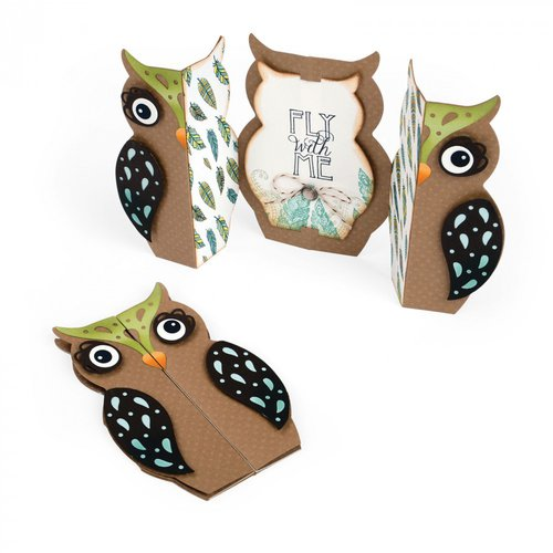 Sizzix - Fox Tales Collection - Thinlits Die - Card, Owl Label Fold-a-Long
