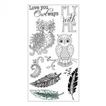 Sizzix - Fox Tales Collection - Clear Acrylic Stamps - Owl and Feathers