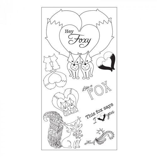 Sizzix - Fox Tales Collection - Clear Acrylic Stamps - Fox Tales