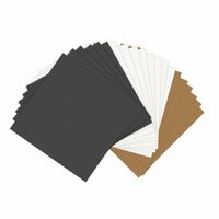 Sizzix - Paper Leather Sheets - 6 x 6 - Assorted Basics - 20 pack - Black, Tan and White