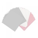 Sizzix - Paper Leather Sheets - 6 x 6 - Assorted Pastels - 20 pack - Pink, Gray, and White