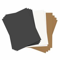 Sizzix - Paper Leather Sheets - 8.5 x 11 - Assorted Basics - 10 pack - Black, Tan and White