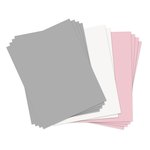 Sizzix - Paper Leather Sheets - 8.5 x 11 - Assorted Pastels - 10 pack - Pink, Gray, and White