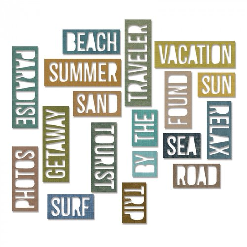 Sizzix - Tim Holtz - Alterations Collection - Thinlits Die - Block Vacation Words