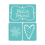 Sizzix - Textured Impressions - Embossing Folders - Hello Friend Set 2