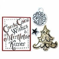 Sizzix - Christmas Collection - Framelits Die with Clear Acrylic Stamp Set - Candy Cane Wishes