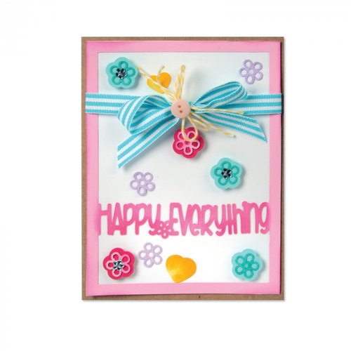 Sizzix - Framelits Dies - Card Front With Block Words Drop Ins