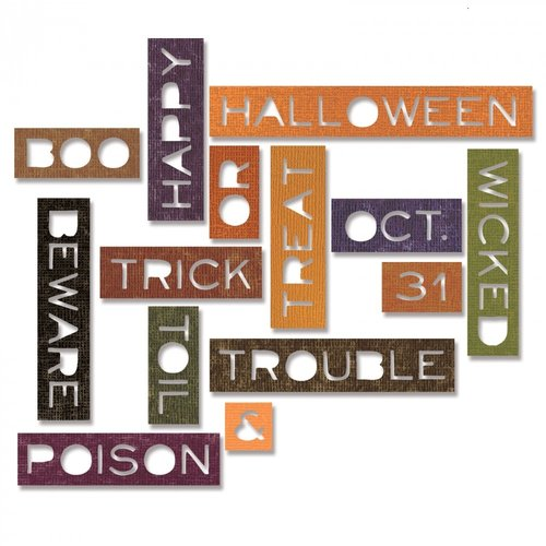 Sizzix - Tim Holtz - Alterations Collection - Halloween - Thinlits Die - Halloween Words - Thin