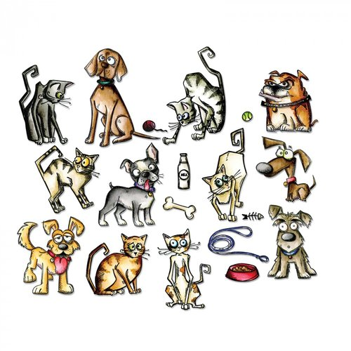 Sizzix - Tim Holtz - Alterations Collection - Framelits Dies - Mini Crazy Cats and Dogs