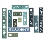 Sizzix - Tim Holtz - Alterations Collection - Christmas - Thinlits Die - Holiday Words - Thin