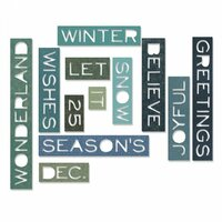 Sizzix - Tim Holtz - Alterations Collection - Thinlits Die - Thin Holiday Words