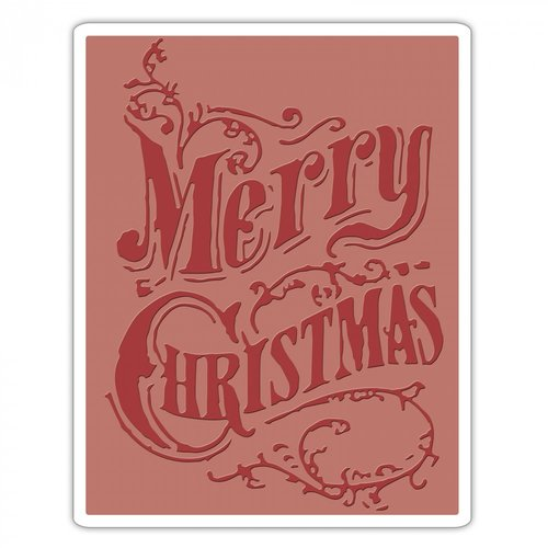 Sizzix - Tim Holtz - Alterations Collection - Christmas - Texture Fades - Embossing Folder - Christmas Scroll