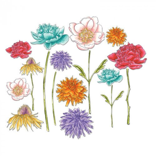 Sizzix - Tim Holtz - Alterations Collection - Framelits Dies - Flower Garden and Mini Bouquet
