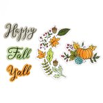 Sizzix - Christmas in Color Collection - Framelits Die with Clear Acrylic Stamp Set - Happy Fall Y'all
