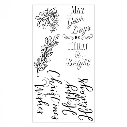 Christmas In Color.Sizzix Christmas In Color Collection Clear Acrylic Stamps Seasonal Sentiments
