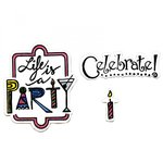 Sizzix - Mini Cards Collection - Framelits Die with Clear Acrylic Stamp Set - Celebrate 2