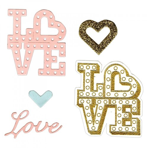 Sizzix - Mini Cards Collection - Framelits Die with Clear Acrylic Stamp Set - Love in Lights