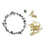 Sizzix - Mini Cards Collection - Framelits Die with Clear Acrylic Stamp Set - Thank You 2