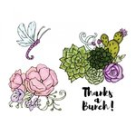 Sizzix - In Bloom Collection - Framelits Die with Clear Acrylic Stamp Set - Blooming Cactus